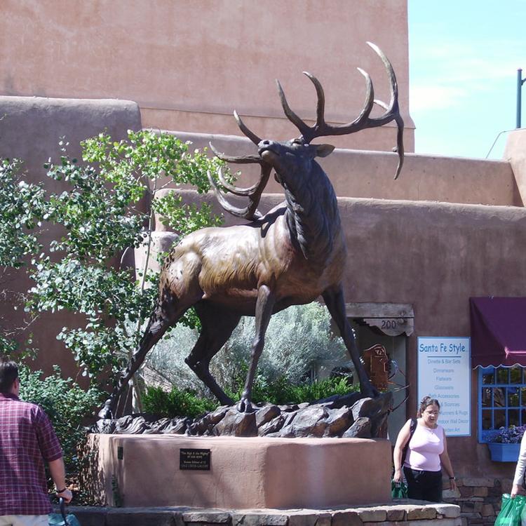 Elk sculpture in copper