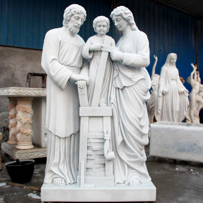 holy family marble staute