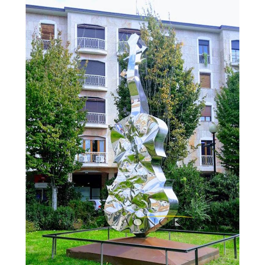 stainless steel violin sculpture