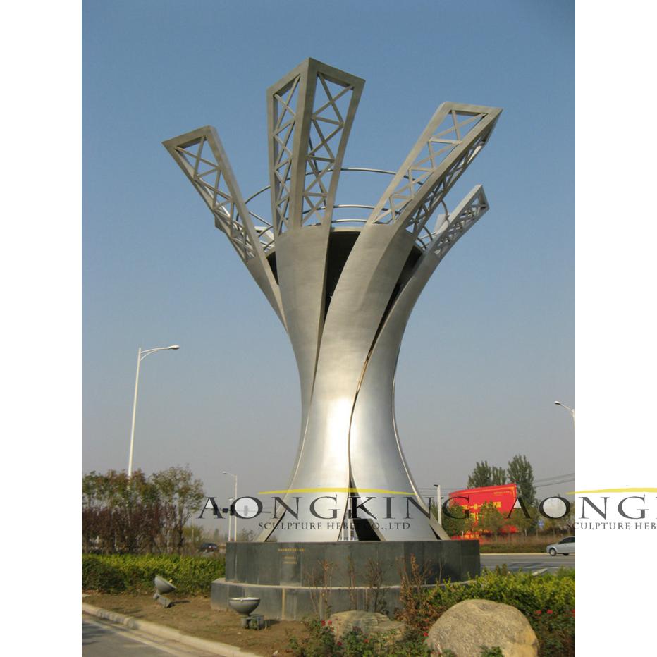 city steel mirror sculpture