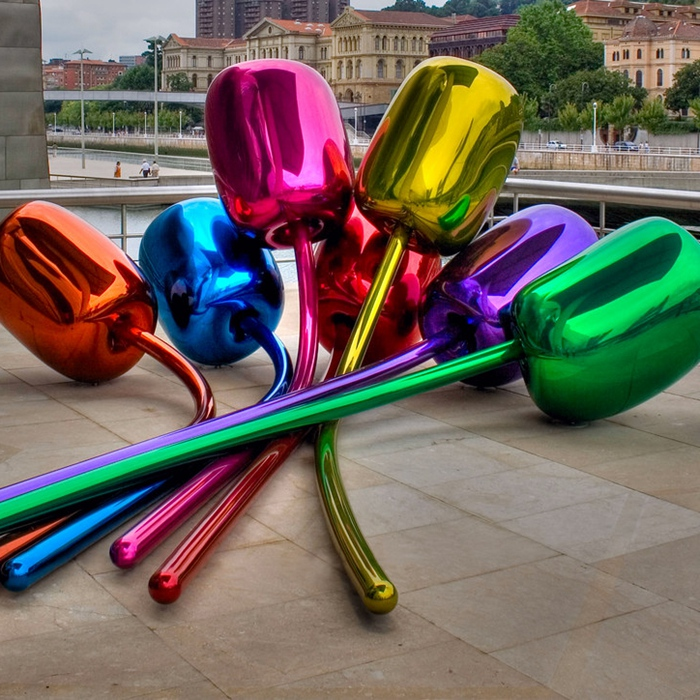 colorful painting steel statue