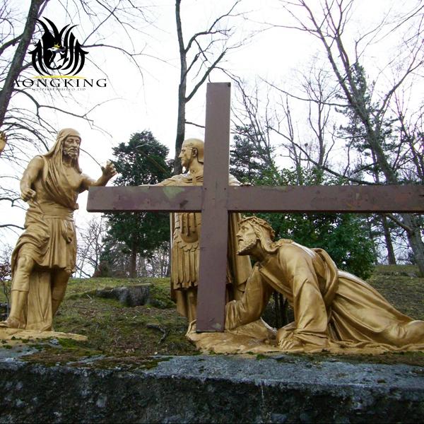 Jesus cross saints statue