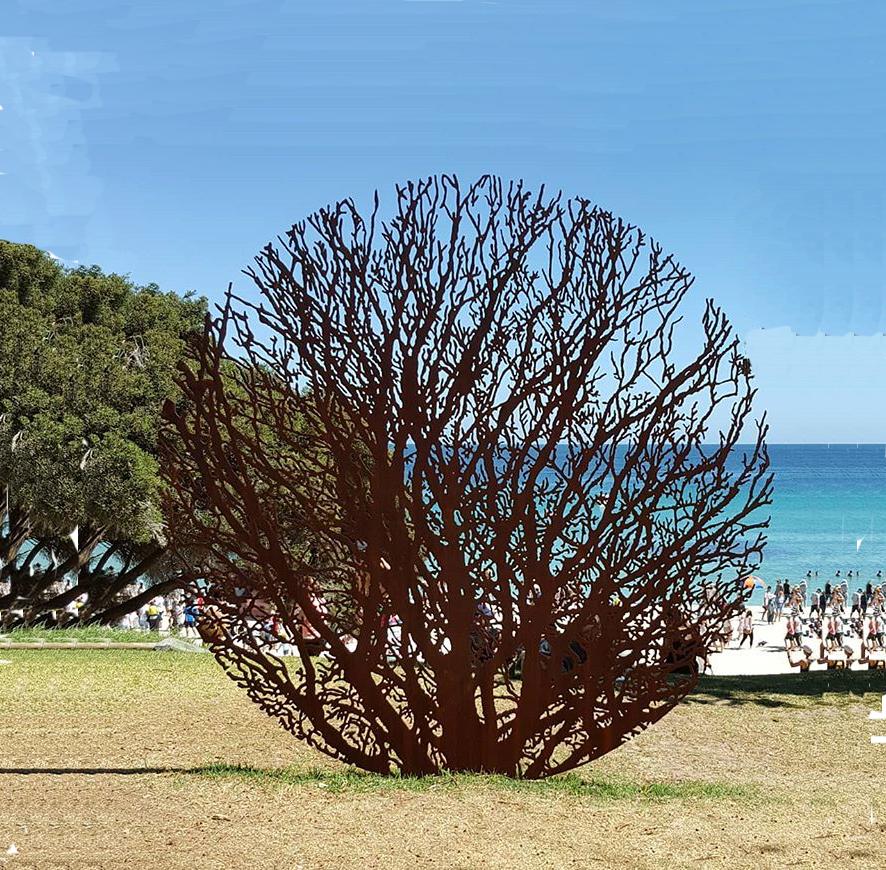 corten garden sculpture round