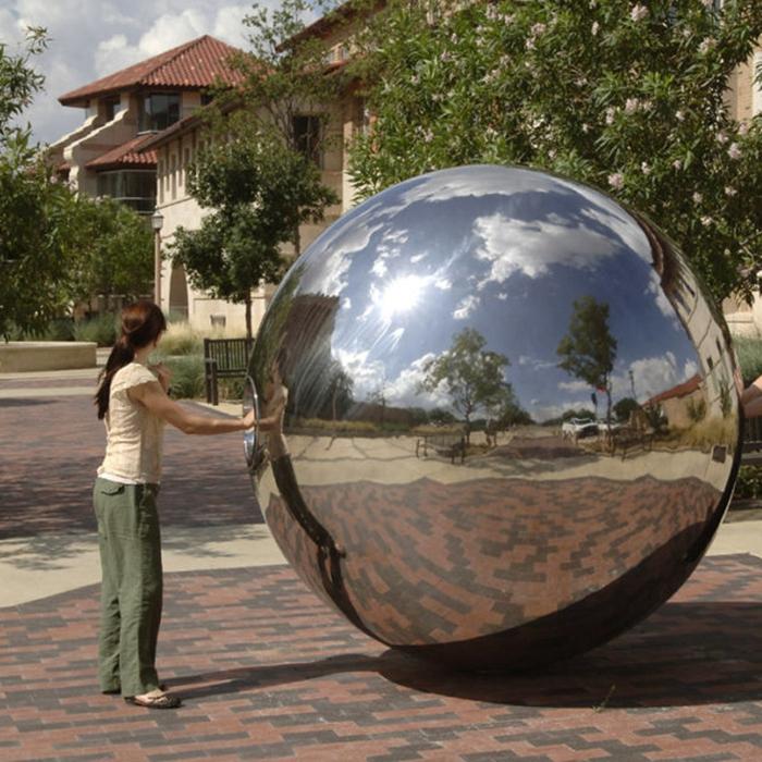 big mirrored ball sculpture