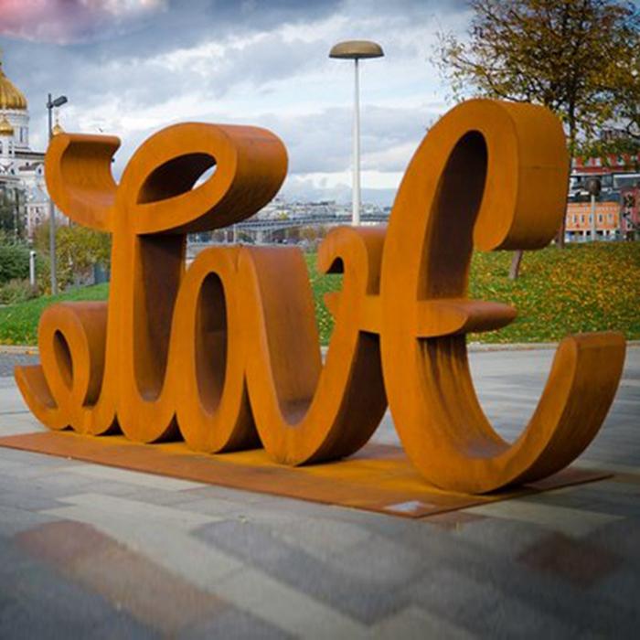 orange love sculpture