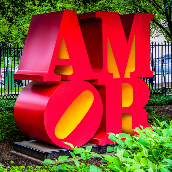 red and yellow alphabet sculpture