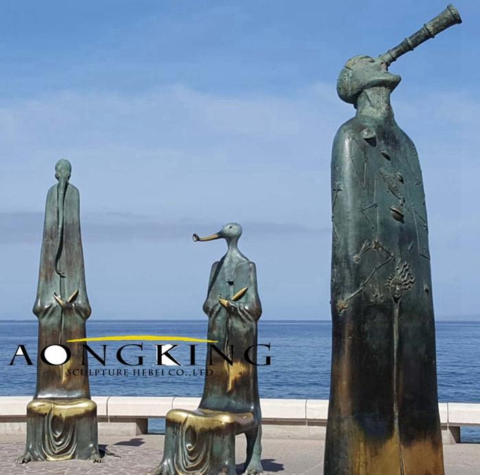 Bronze beach statues