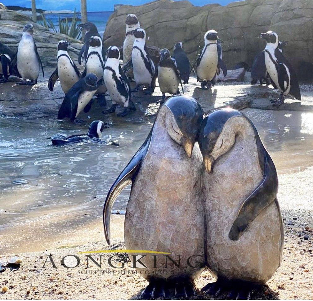 Casting penguin sculpture