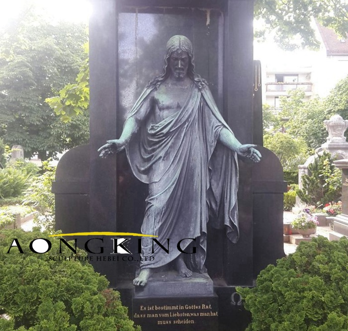 Praying with Open Arm jesus statue