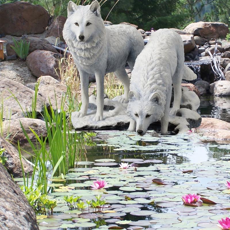Winter warriors wolf sculpture