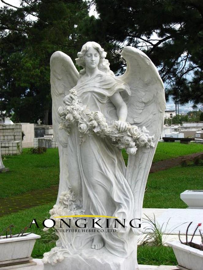 Cemetery headstones statues