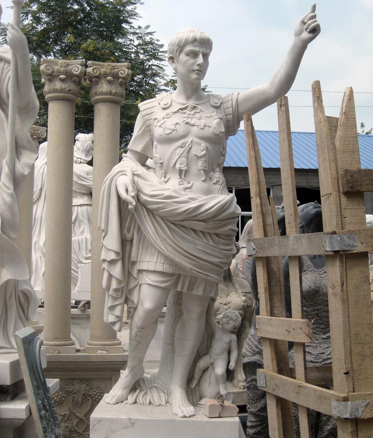 Life size julius caesar marble statue