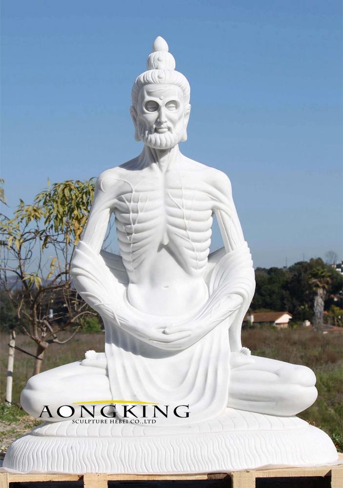 Marble emaciated buddha statue