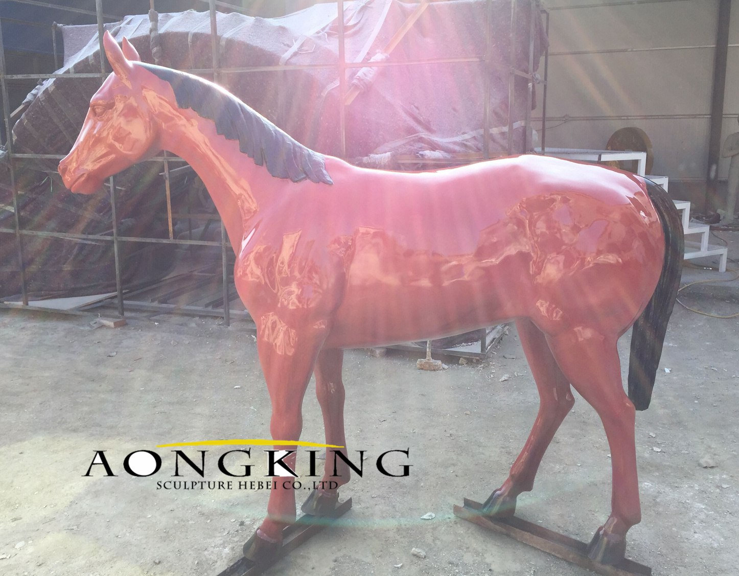 Stand horse resin statue