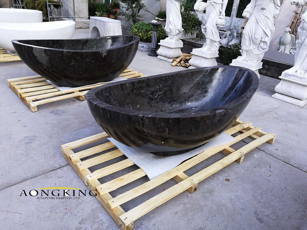 Black stone bathtub