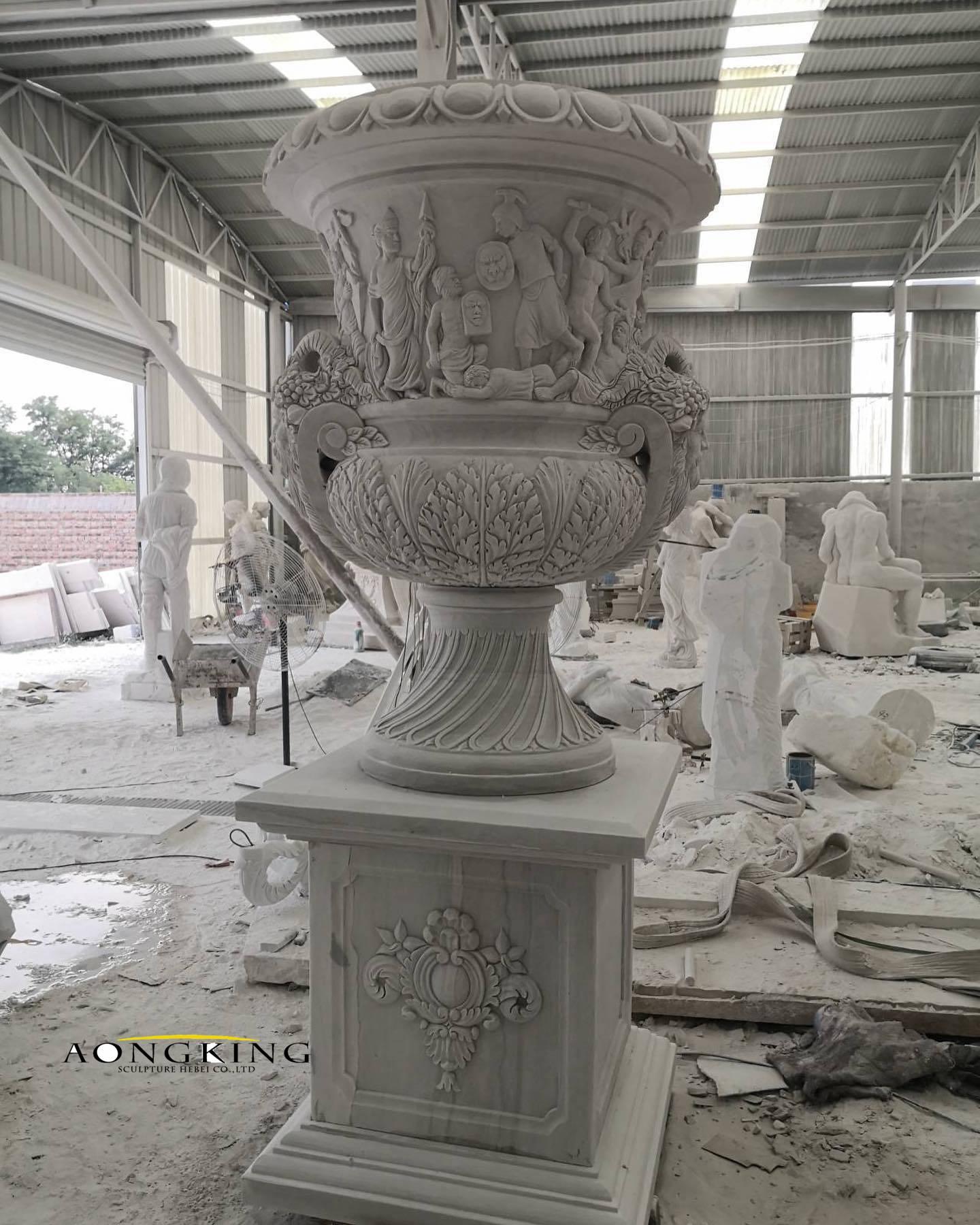 Decor white marble vases
