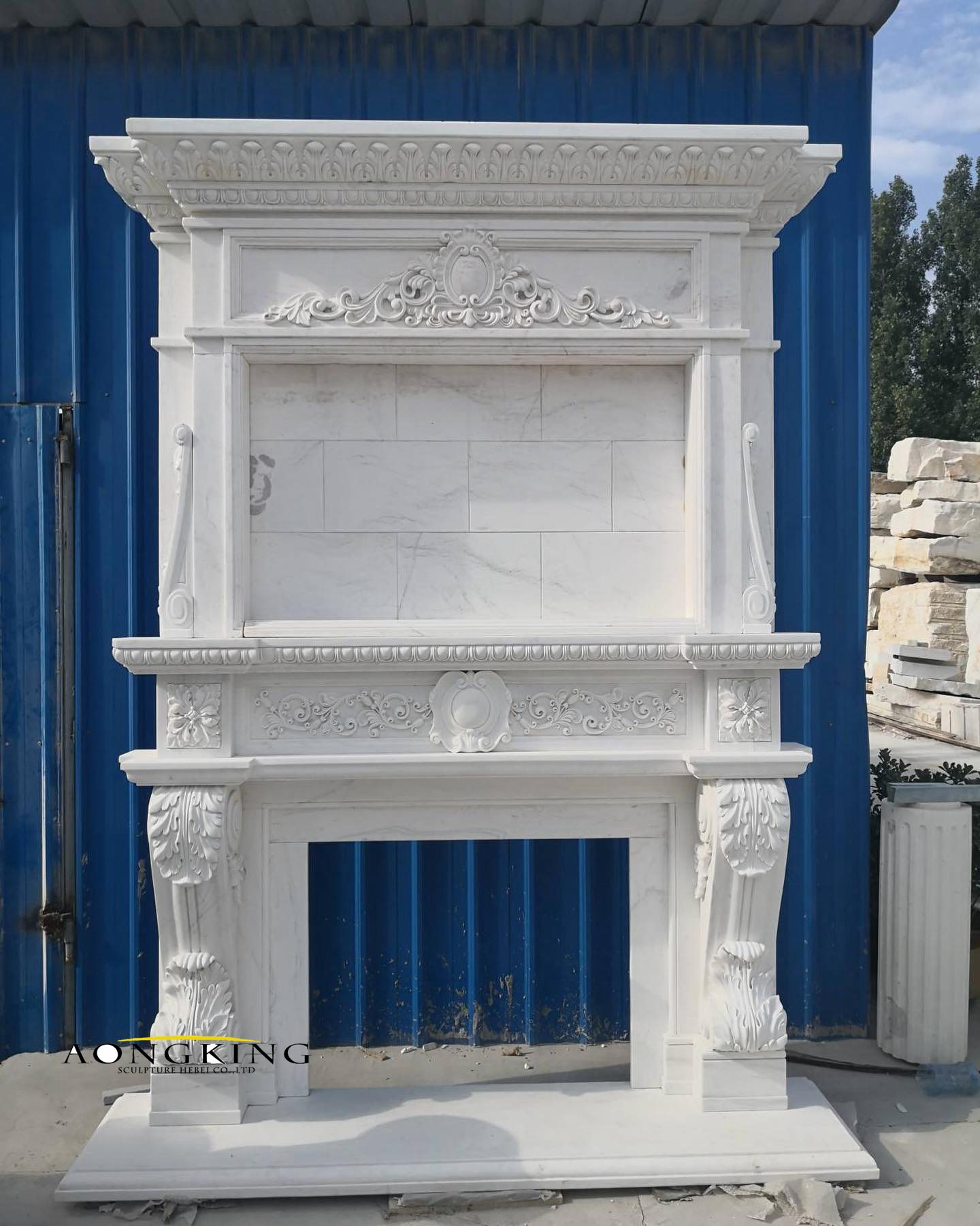 Double marble mantelpiece