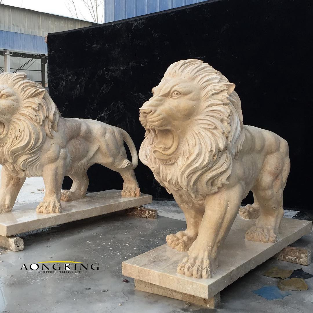 Life size marble lions statue