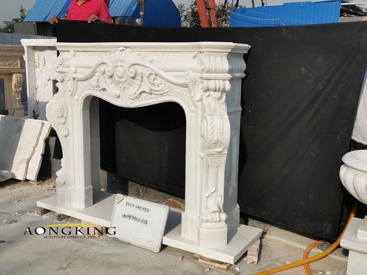 Stone white mantelpiece