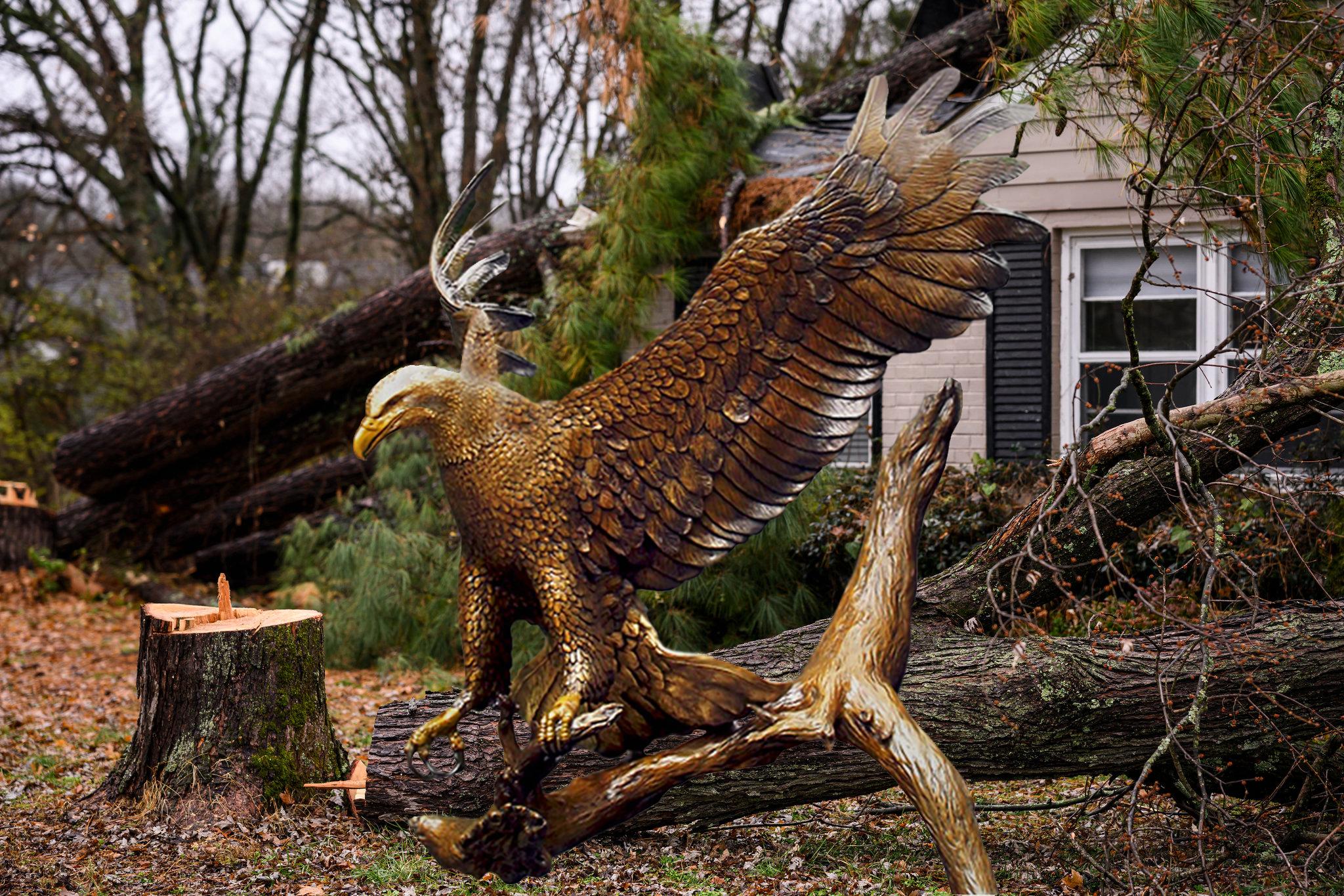 bronze eagle hawk sculpture