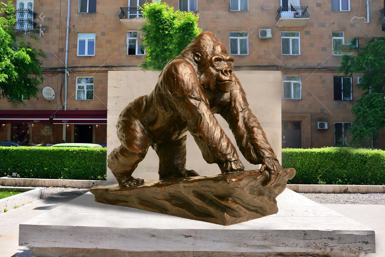 bronze orangutan sculpture