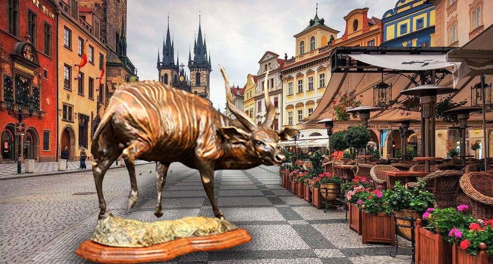 bronze sheep sculpture