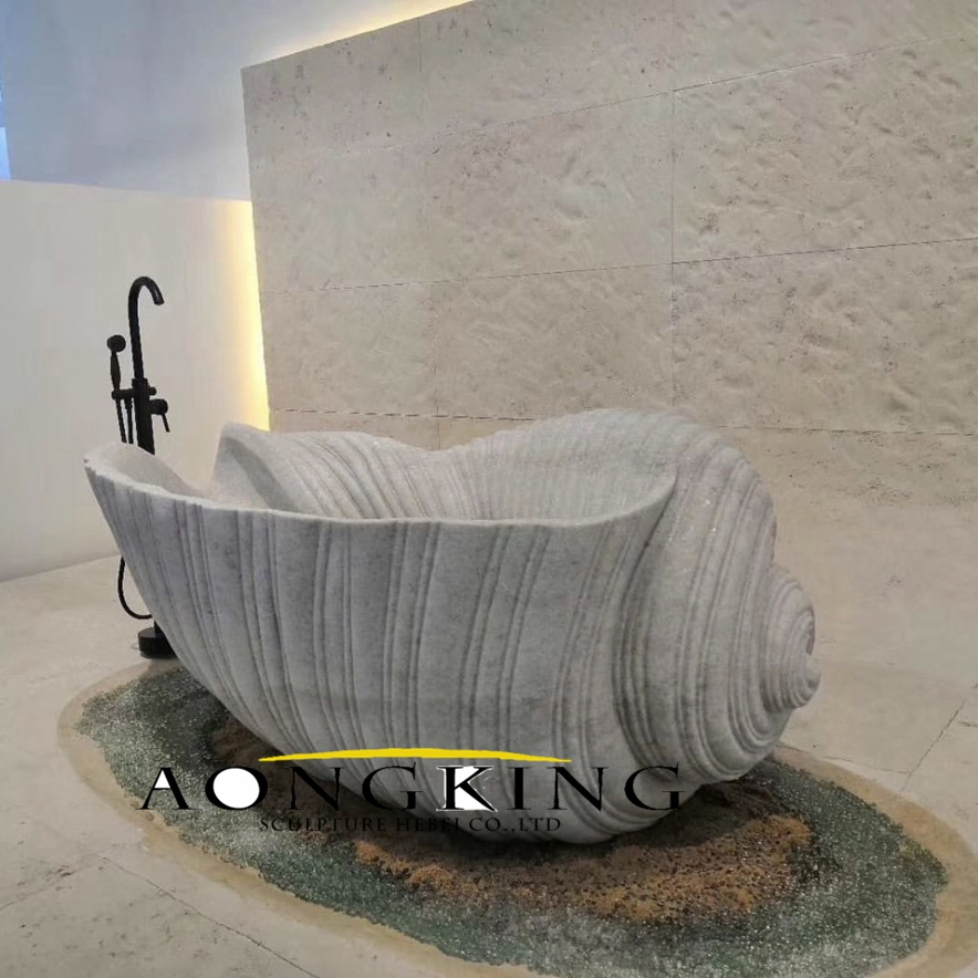 Conch shaped stone bathtub