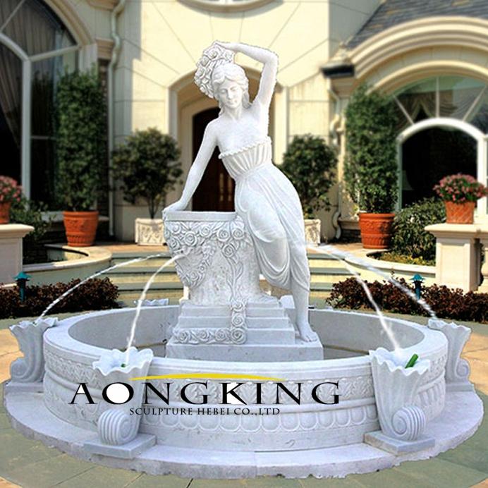 Garden marble lady fountain