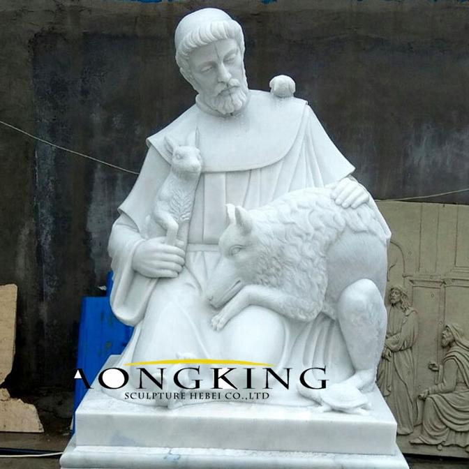 Marble St Francis sculpture