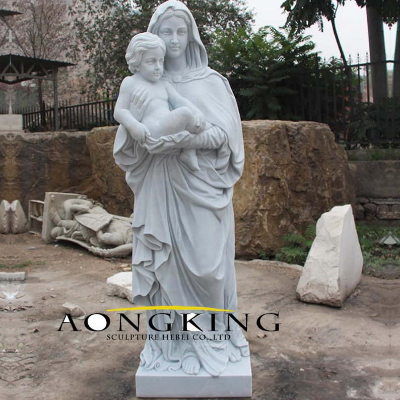 Marble mary church statue