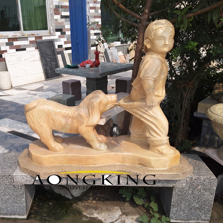 Stone body with dog statue