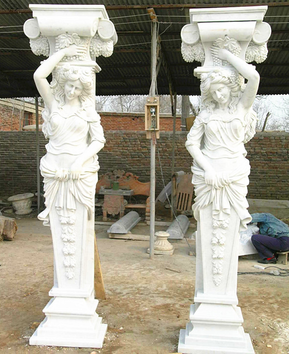 Garden White Stone Pillar