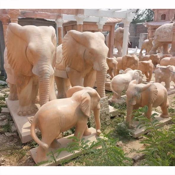 Many marble elephant statues