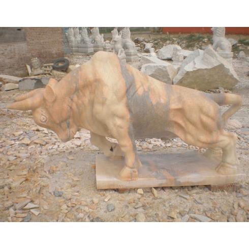 Marble bull sculpture