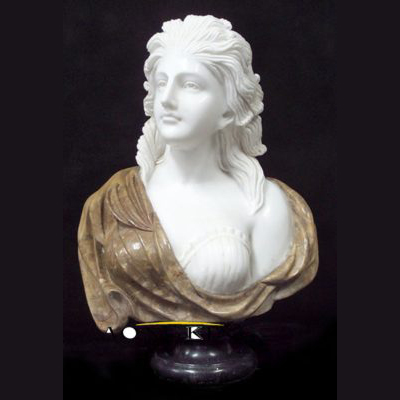 Marble bust of woman statue