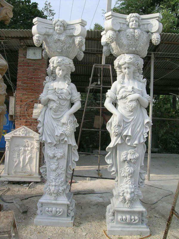 Stone girl column sculpture