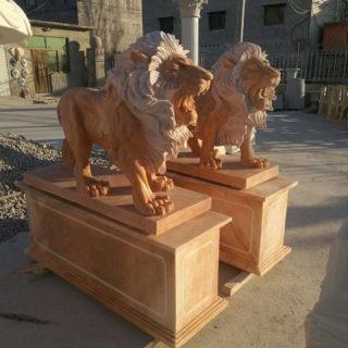Garden stone lion statues