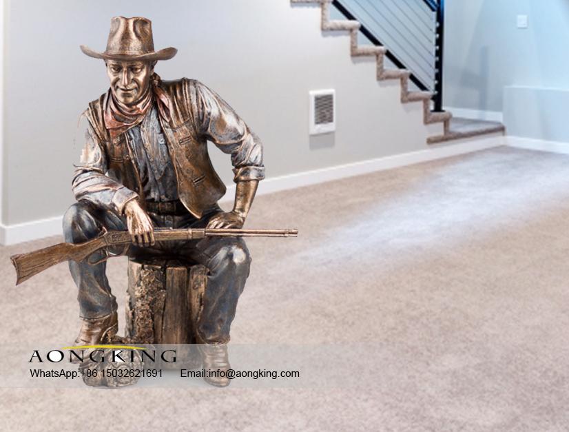brass cowboy statue