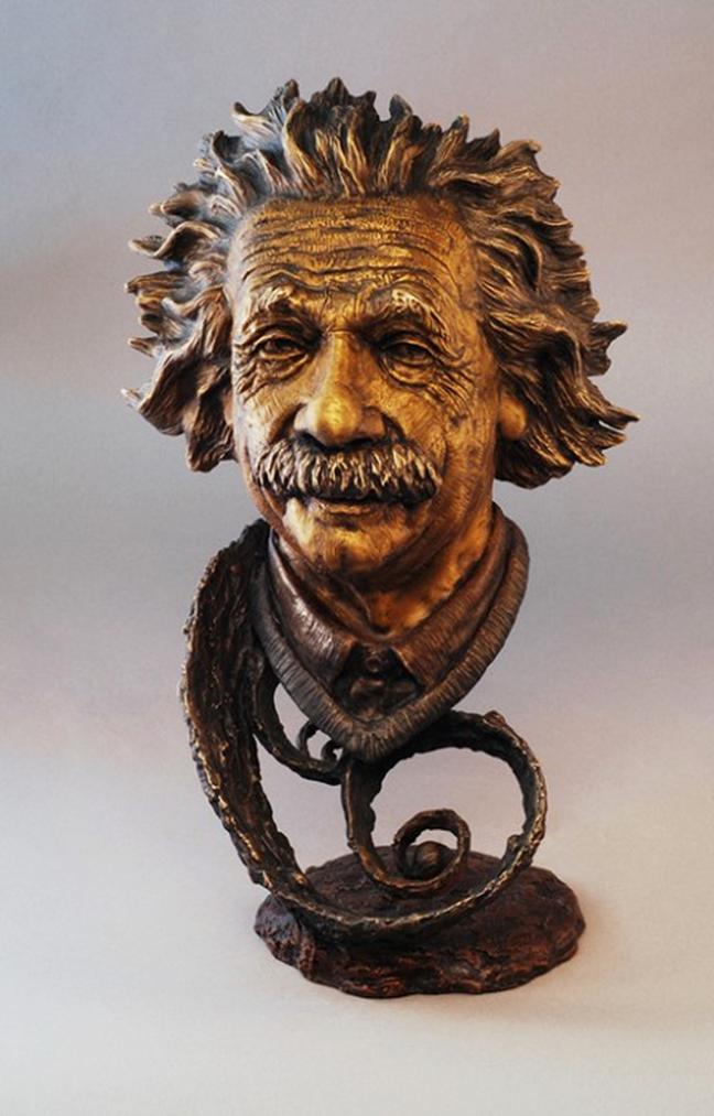 bronze Einstein head statue