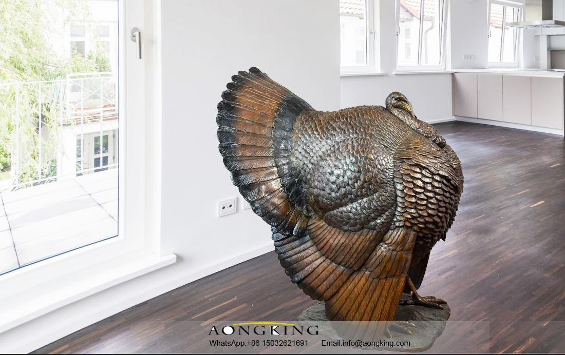 bronze turkey statue