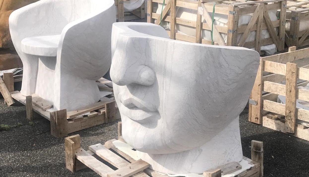 stone face statue