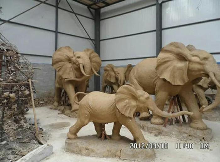 Clay animal sculptures