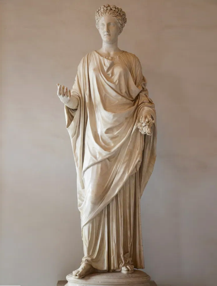 Marble statue of Flora, goddess of flowers and the season of spring