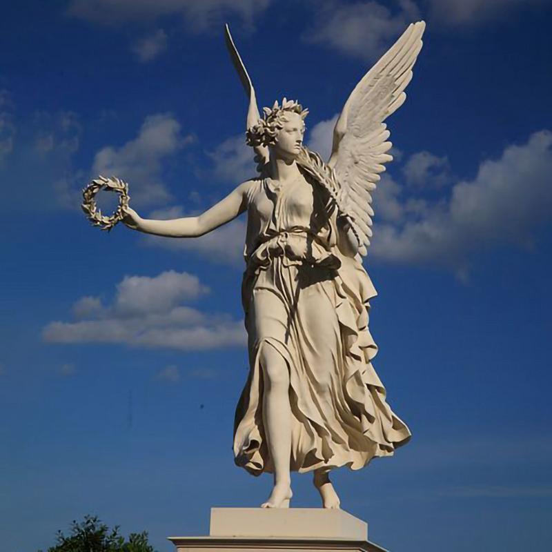 Statue of an angel holding a laurel crown at Schwerin Castle in Schwerin