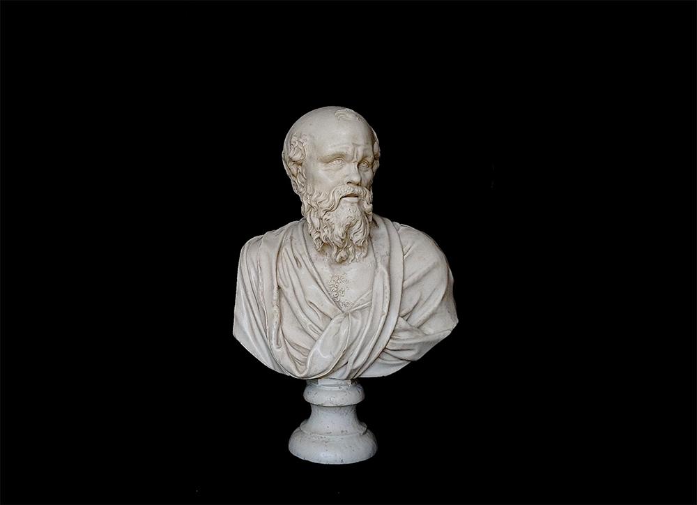 Ancient Greek philosopher Socrates bust