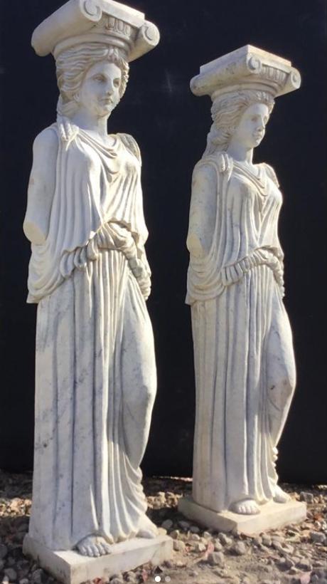 Carved Marble Caryatid Columns