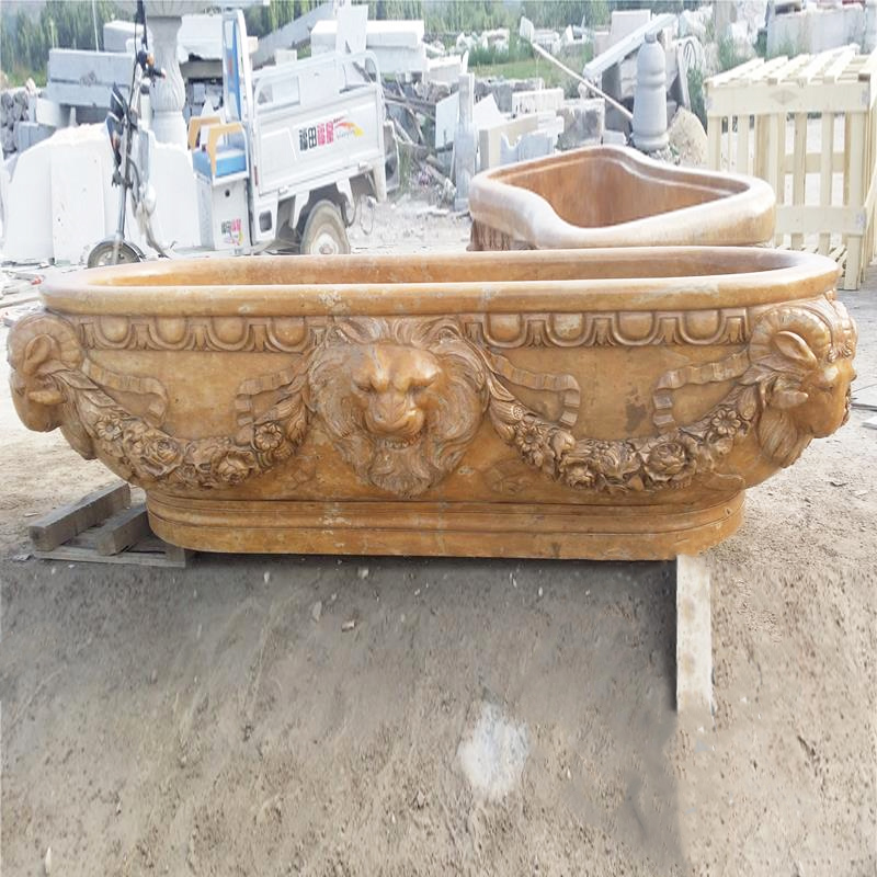 Chinese Supplier Wholesale Hot Tubs Yellow Marble Bathtub