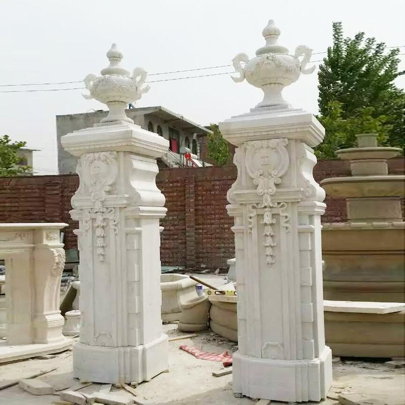 Exterior Large Size Decoration Wholesale Square Marble Columns