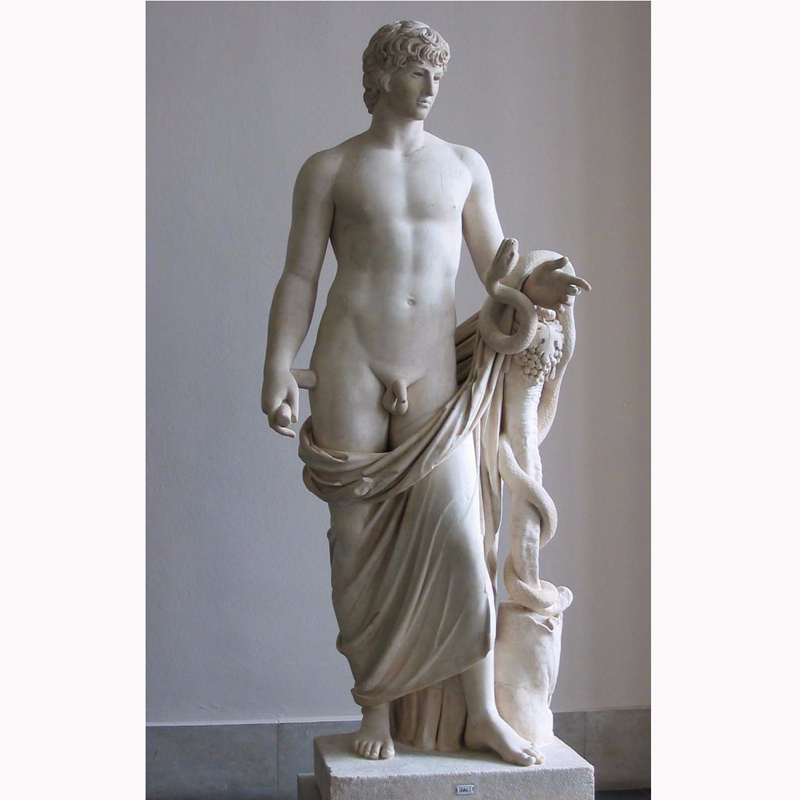 Life Size White Marble Antinous Sculpture