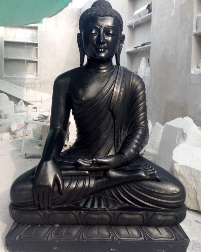 buddha statue black stone